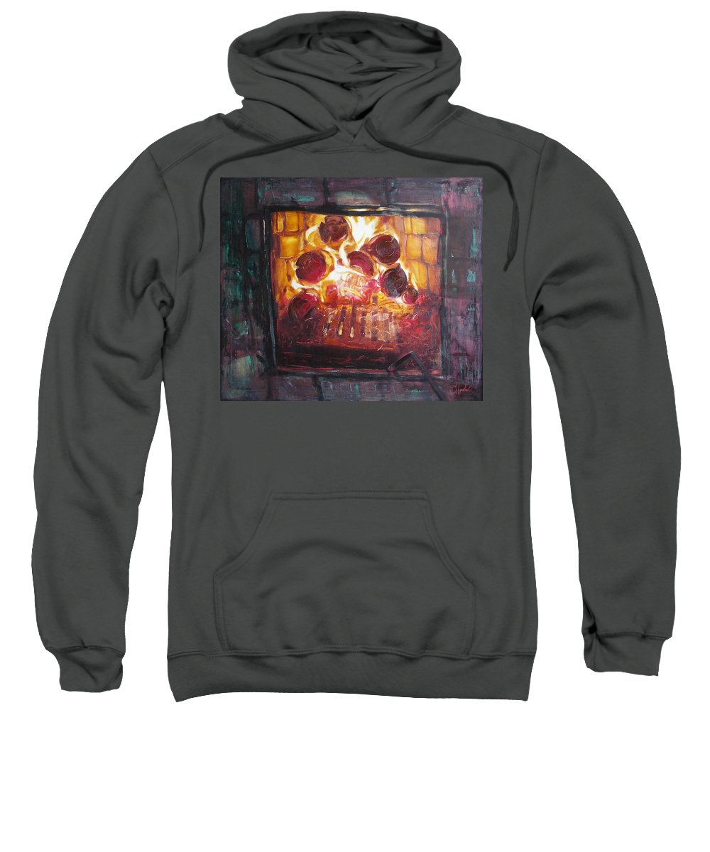 Oil Sweatshirt featuring the painting Stove by Sergey Ignatenko