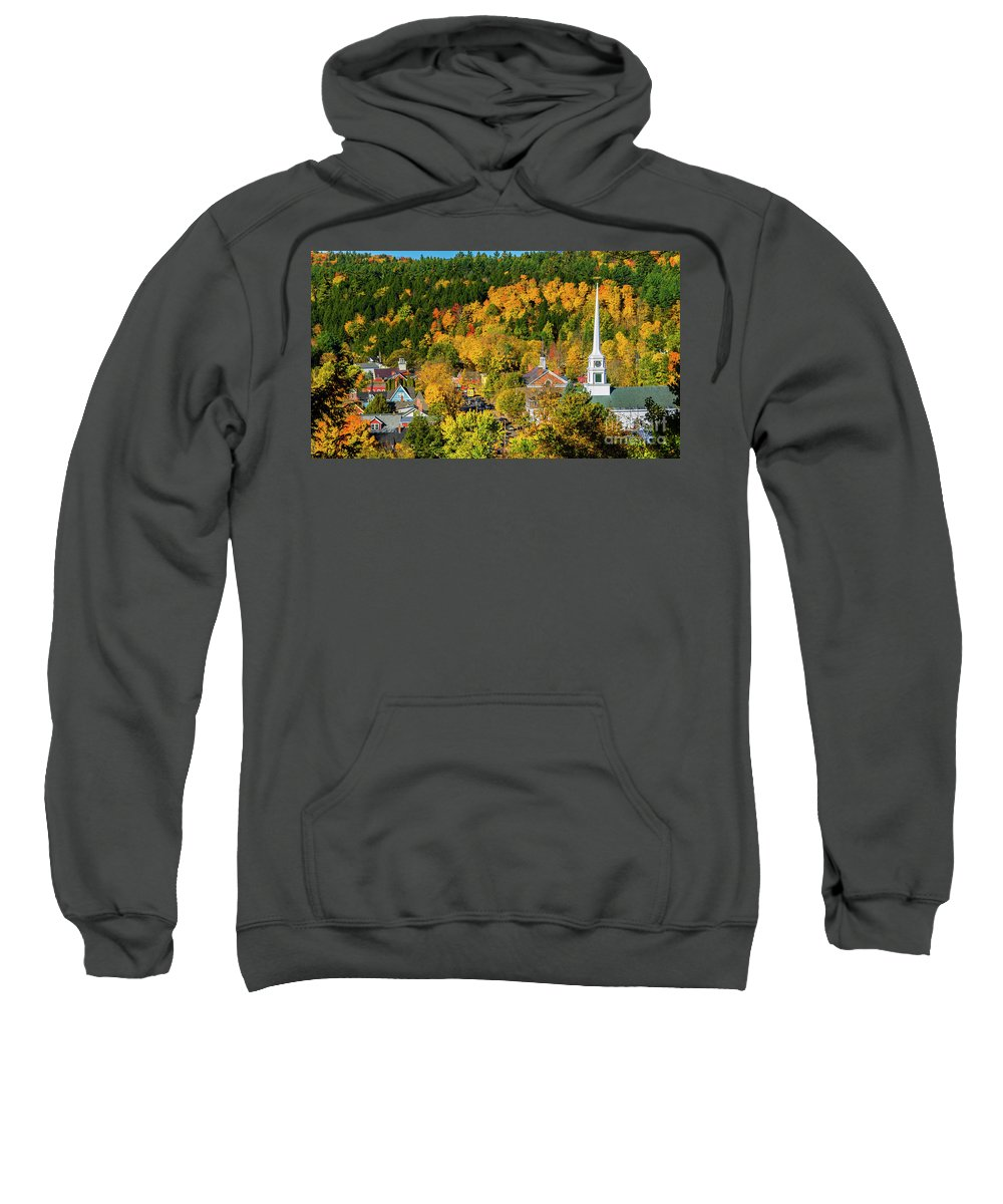 Fall Foliage Sweatshirt featuring the photograph Stowe Vermont by Scenic Vermont Photography