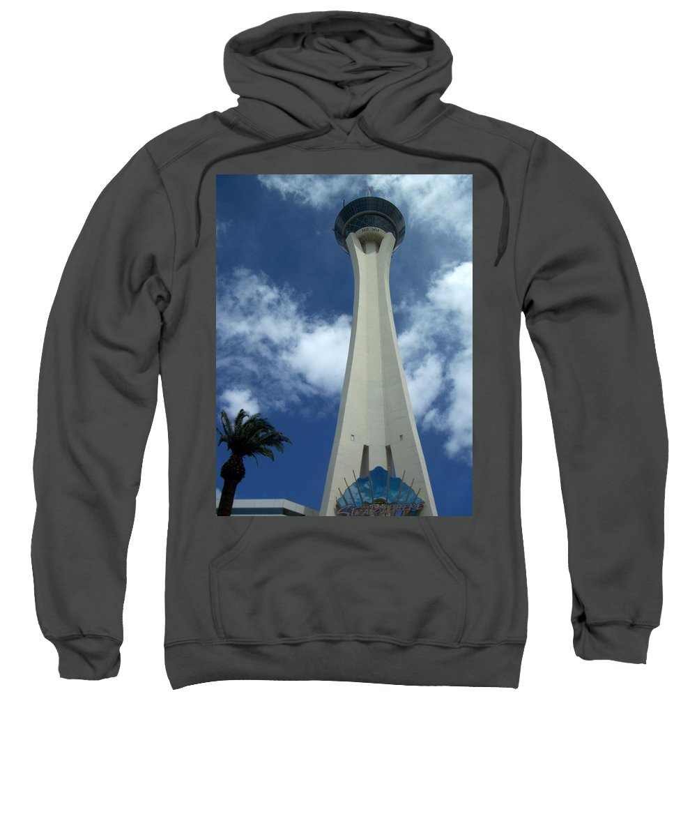 Stratosphere Tower Sweatshirt featuring the photograph Stratosphere Tower by Anita Burgermeister