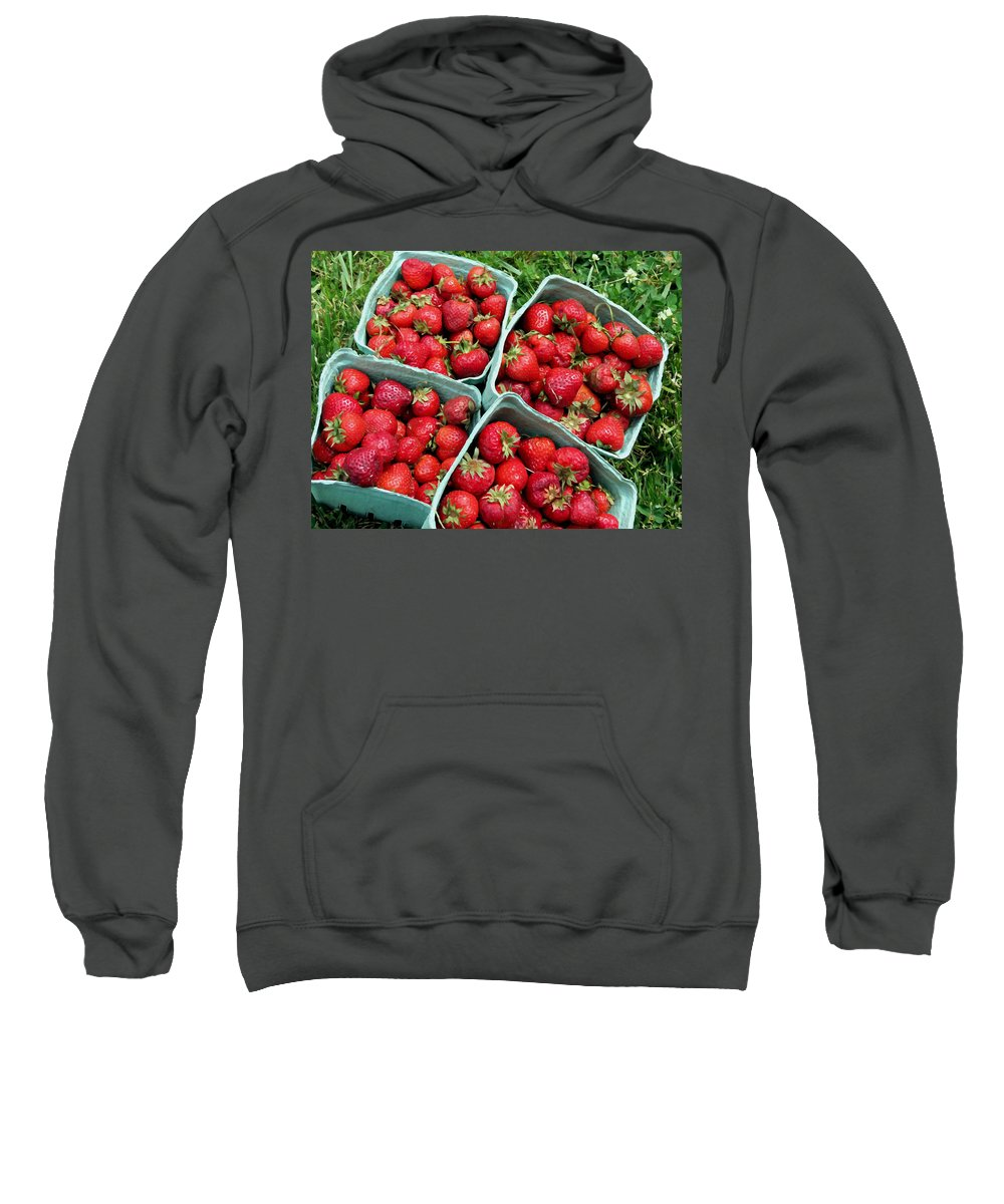 Appetizing Sweatshirt featuring the painting Strawberries In A Box On The Green Grass by Jeelan Clark