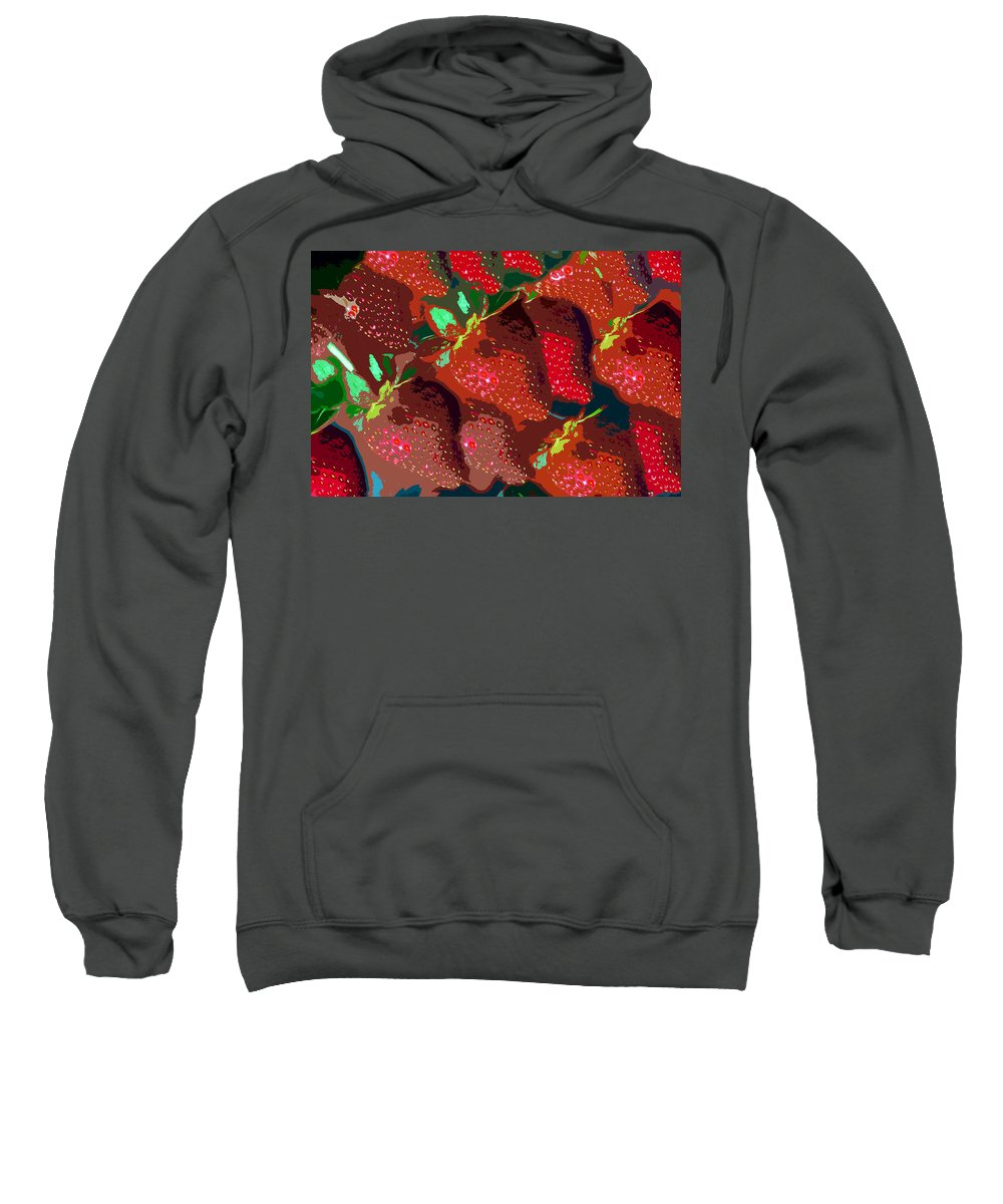 Strawberry Sweatshirt featuring the painting Strawberry Fields Forever by David Lee Thompson