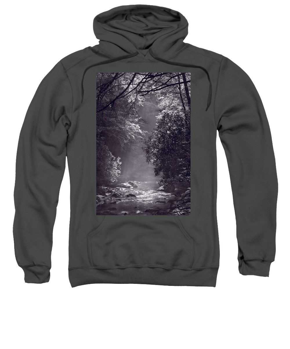 Blueridge Sweatshirt featuring the photograph Stream Light B W by Steve Gadomski