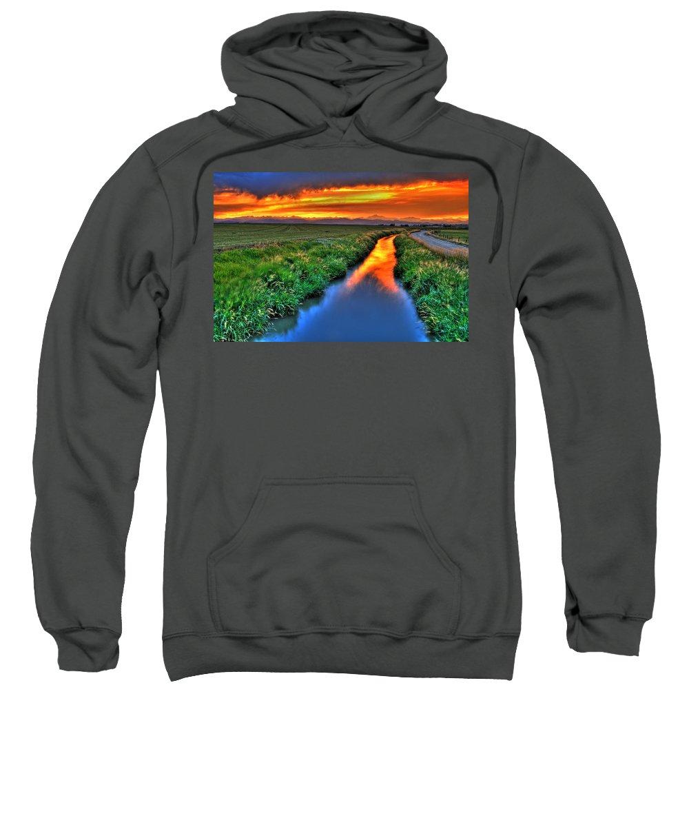 Colorado Sweatshirt featuring the photograph Stream Of Light by Scott Mahon