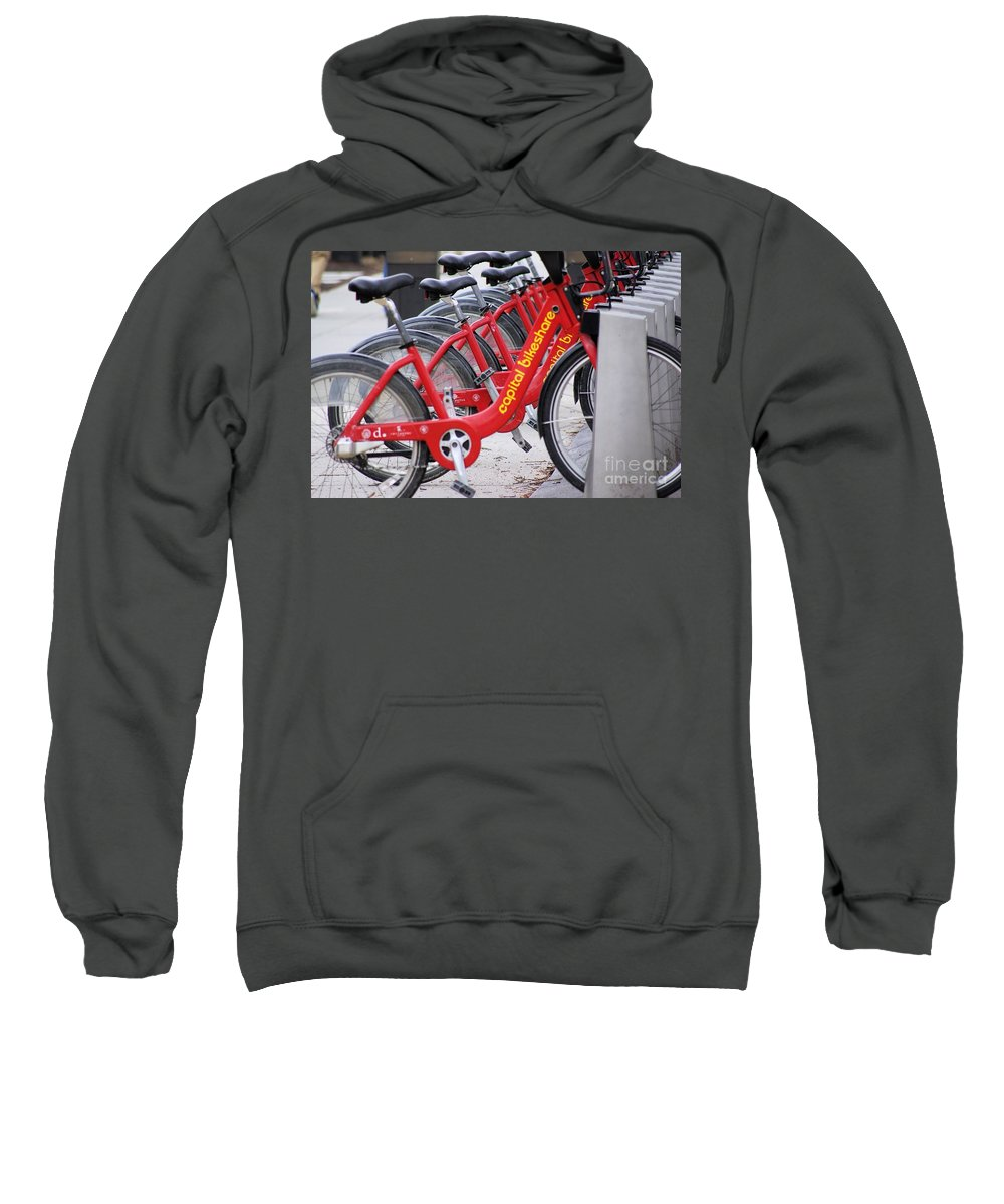 Red Sweatshirt featuring the photograph Street Bikes by John S