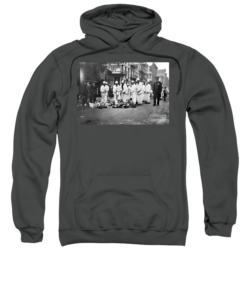 1911 Sweatshirt featuring the photograph Street Sweepers, 1911 by Granger