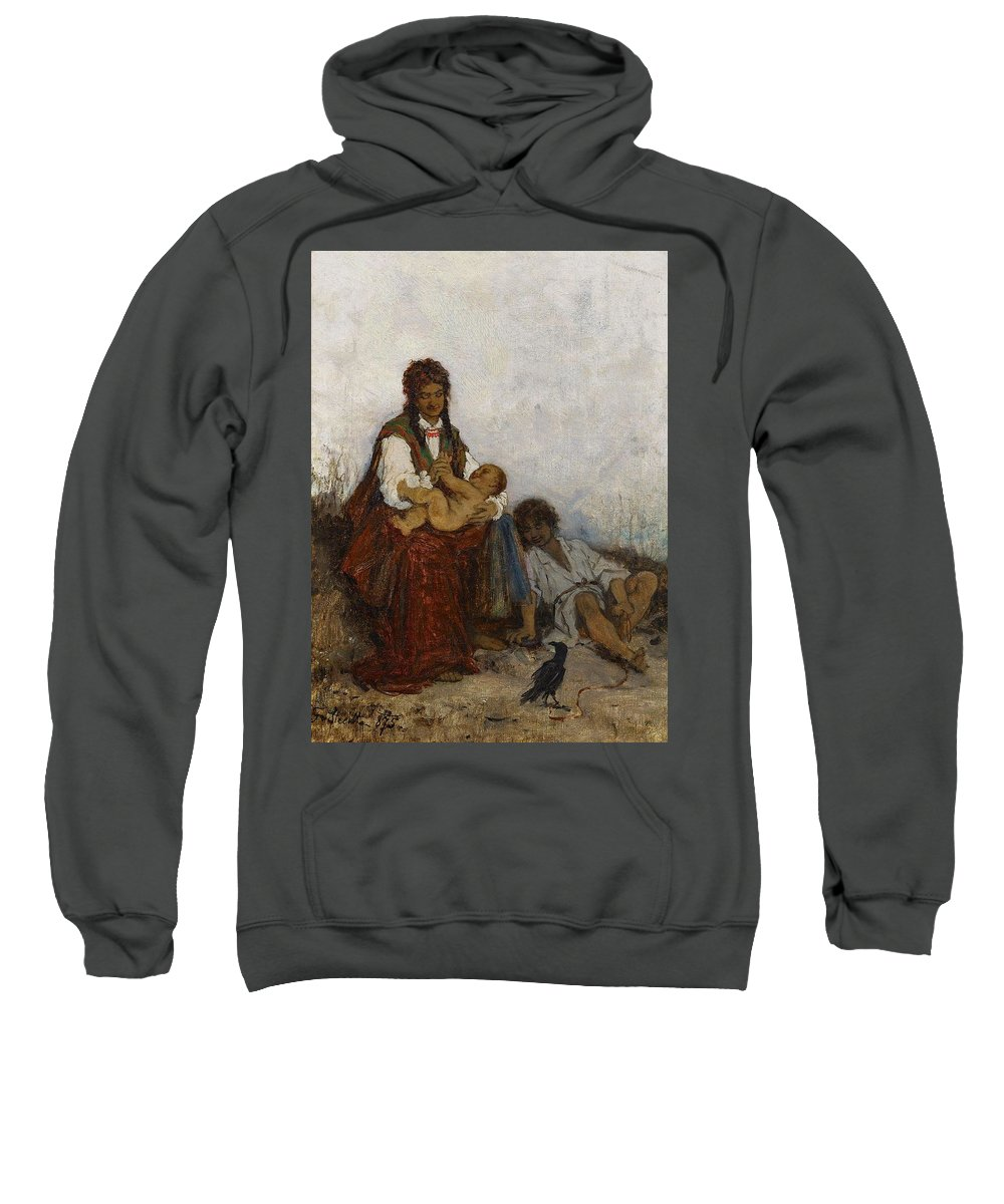 Beautiful Sweatshirt featuring the painting Streitt, Franciszek 1839 Brody - 1890 Rest On The Field. 1875. by Streitt Franciszek
