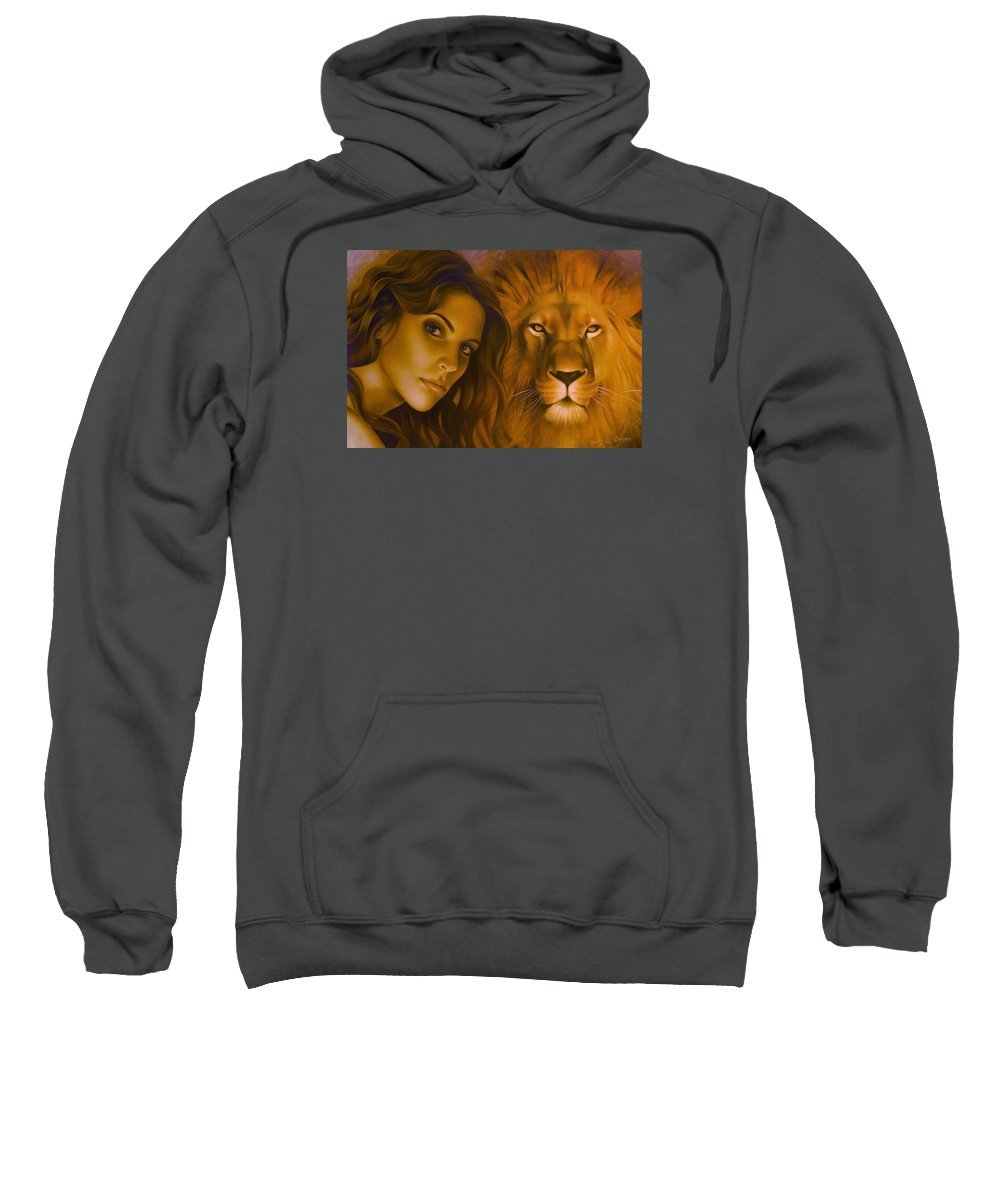 Portrait Sweatshirt featuring the painting Strenght And Tenderness by Arthur Braginsky