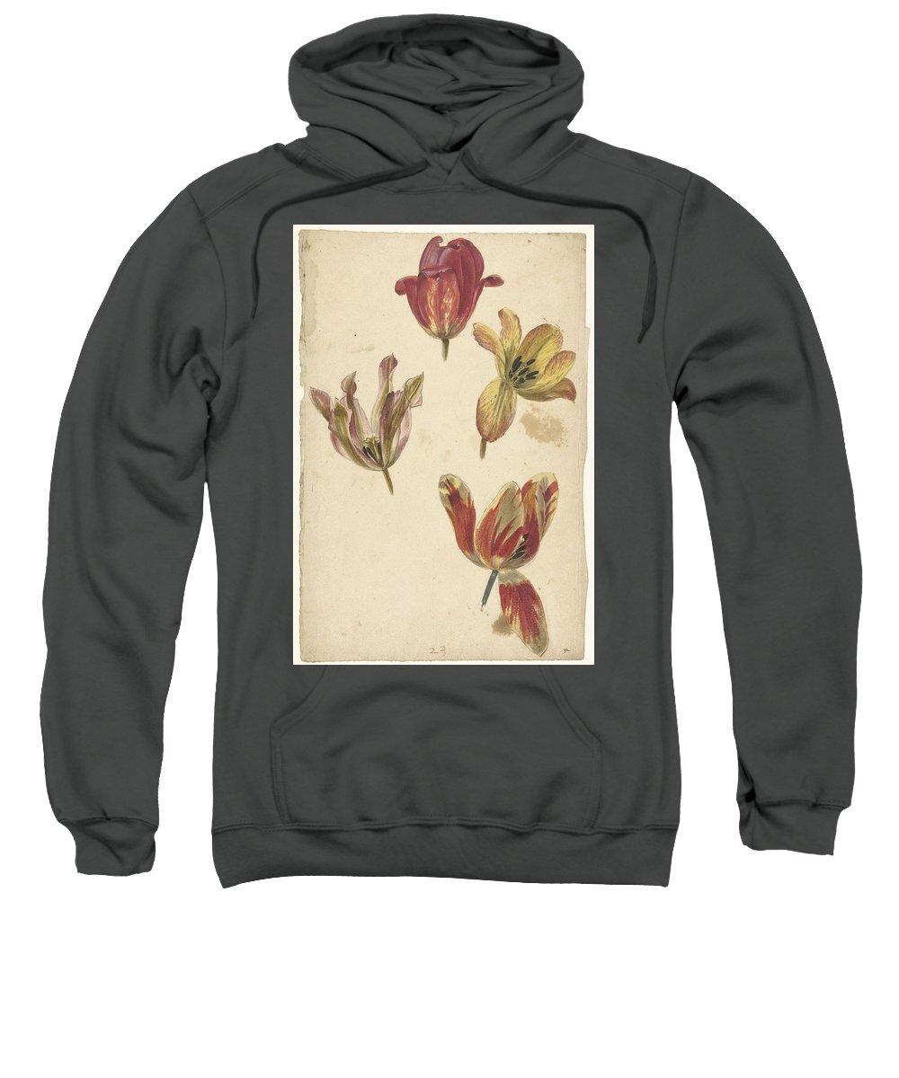 Flower Sweatshirt featuring the painting Studies Of Four Tulips, Elias Van Nijmegen, C. 1700 - C. 1725 by Elias van Nijmegen