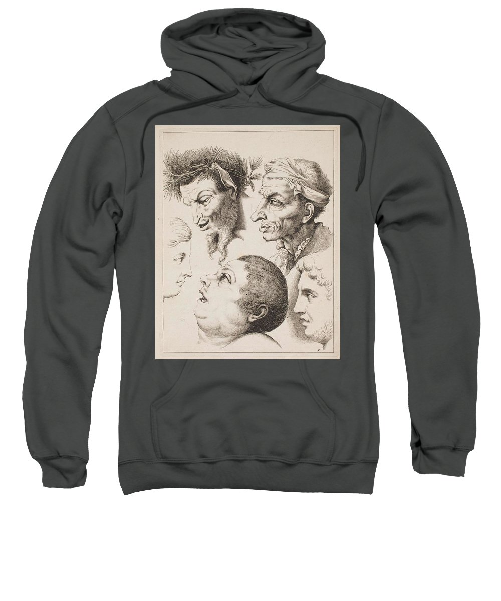 Man Sweatshirt featuring the painting Studies Of Heads Anonimo, Blooteling Abraham by Blooteling Abraham
