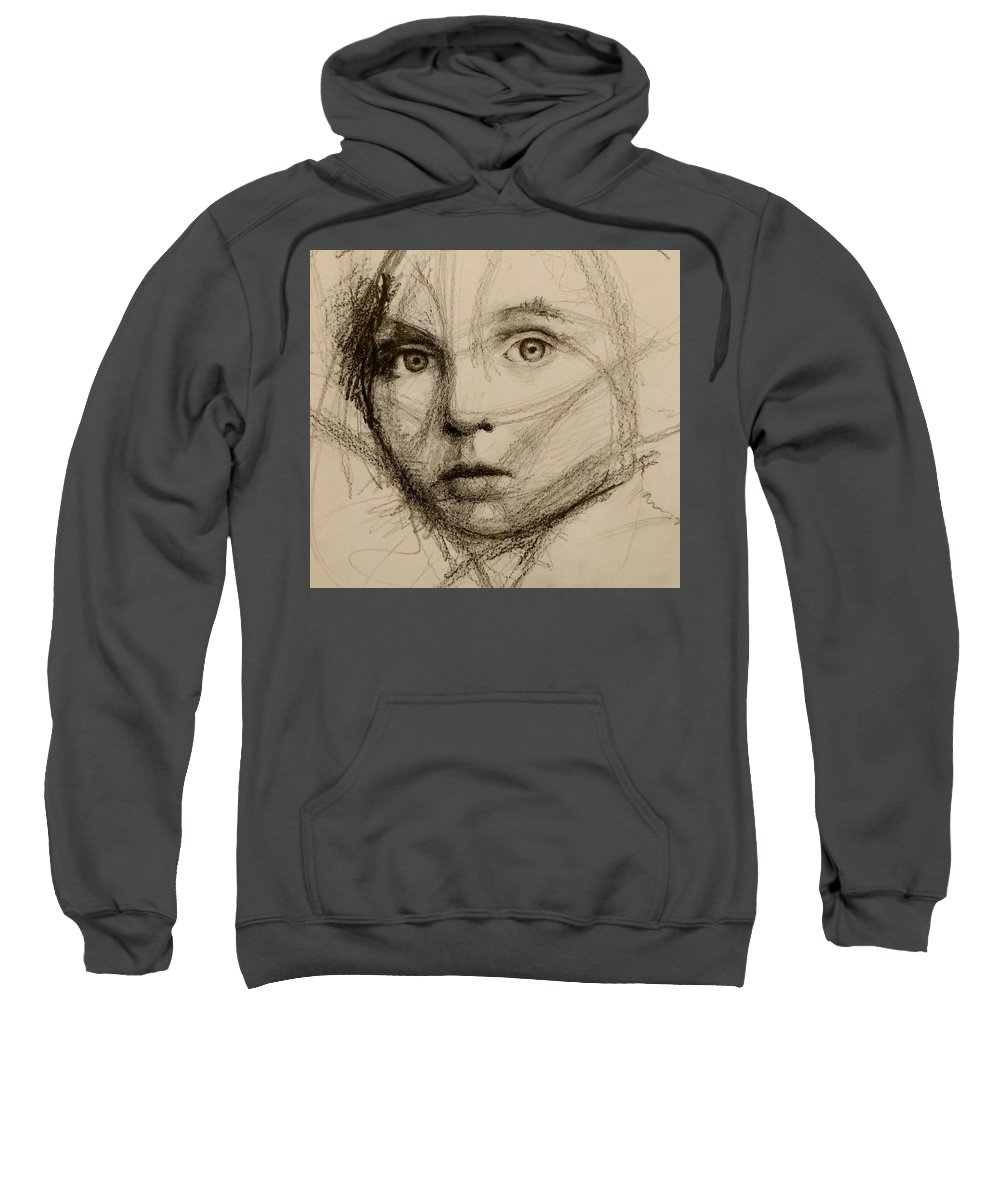 Portrait Sweatshirt featuring the drawing Study Of A Face by Christine Columbo