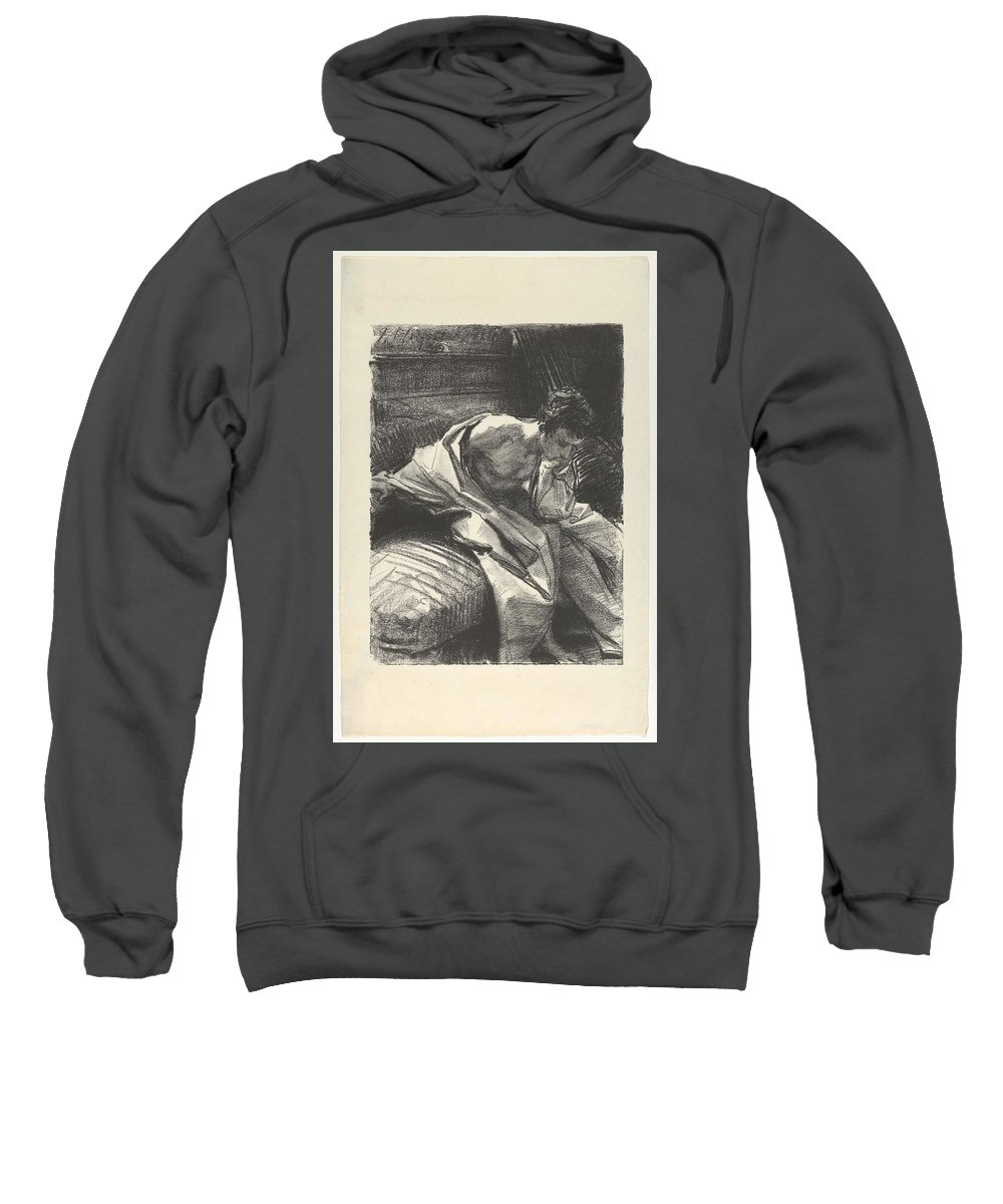 Man Sweatshirt featuring the painting Study Of A Young Man, Seated ,john Singer Sargent by John Singer Sargent