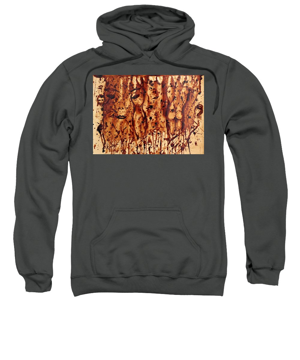 Abstract Coffee Painting On Paper Sweatshirt featuring the painting Subtle Atraction Coffee Painting by Georgeta Blanaru