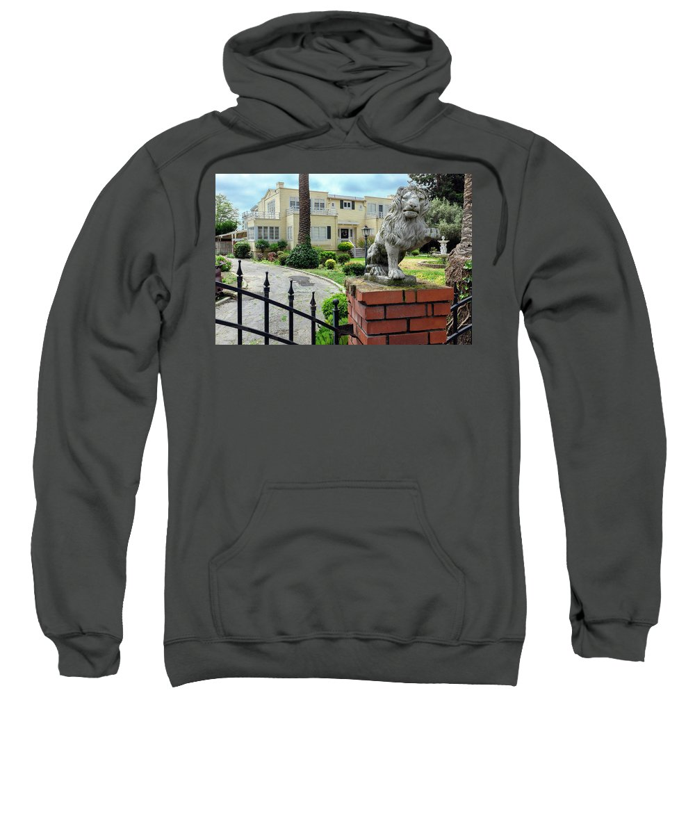 Suburbia Sweatshirt featuring the photograph Suburban Antique House With Lion Hayward California 22 by Kathy Anselmo