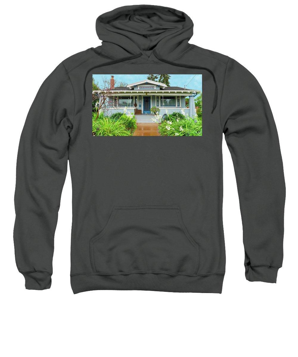 Suburbia Sweatshirt featuring the photograph Suburban Arts And Crafts House Hayward California 8 by Kathy Anselmo