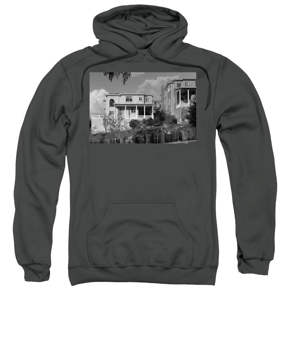 Suburbia Sweatshirt featuring the photograph Suburban House On Hayward Boulevard Hayward California 2 by Kathy Anselmo