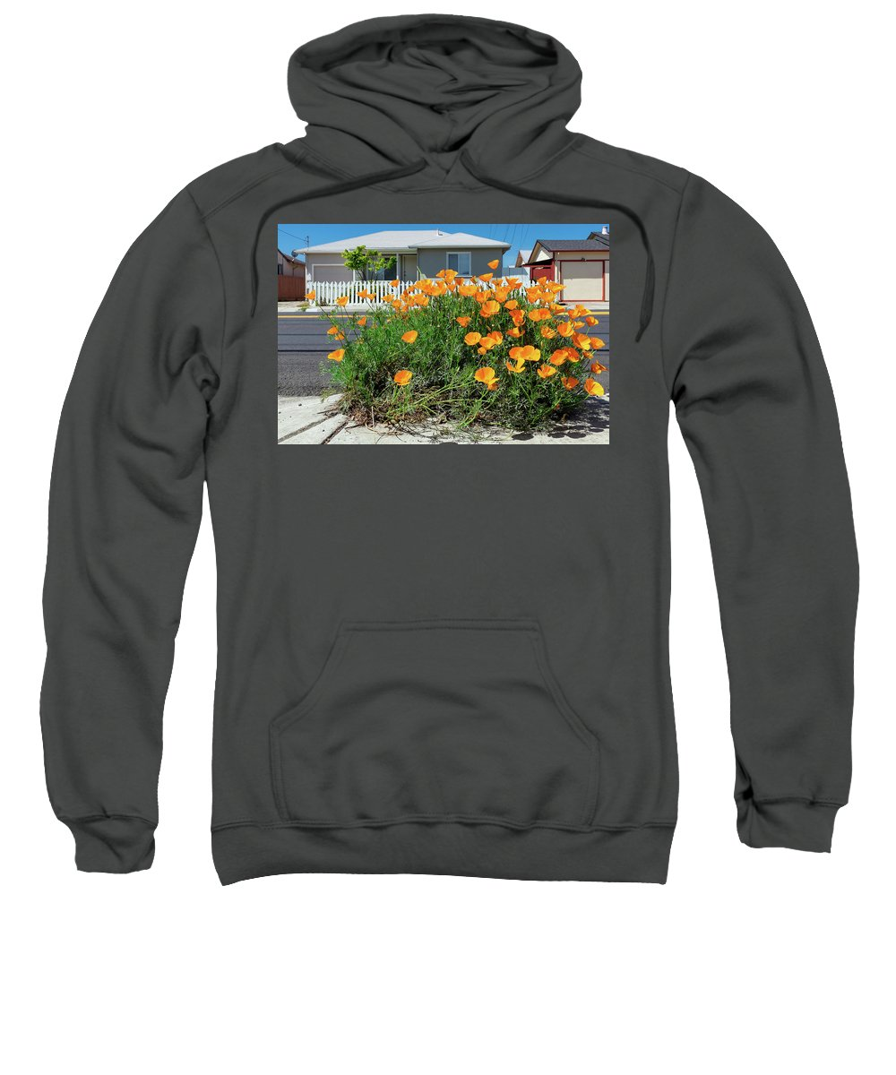 Suburbia Sweatshirt featuring the photograph Suburban House On Orchard Avenue With Poppies Hayward California 3 by Kathy Anselmo