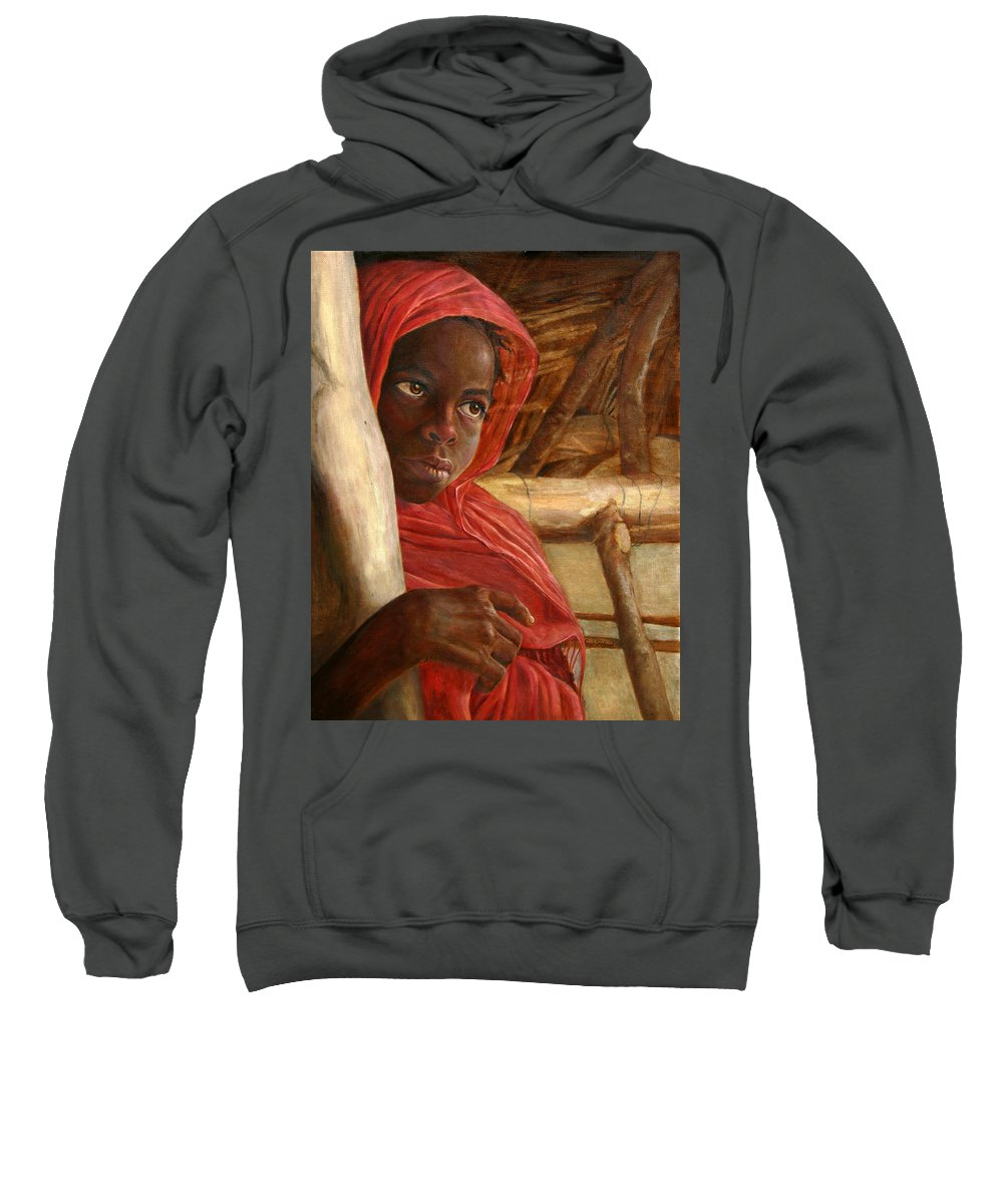 Children Painting Sweatshirt featuring the painting Sudanese Girl by Portraits By NC