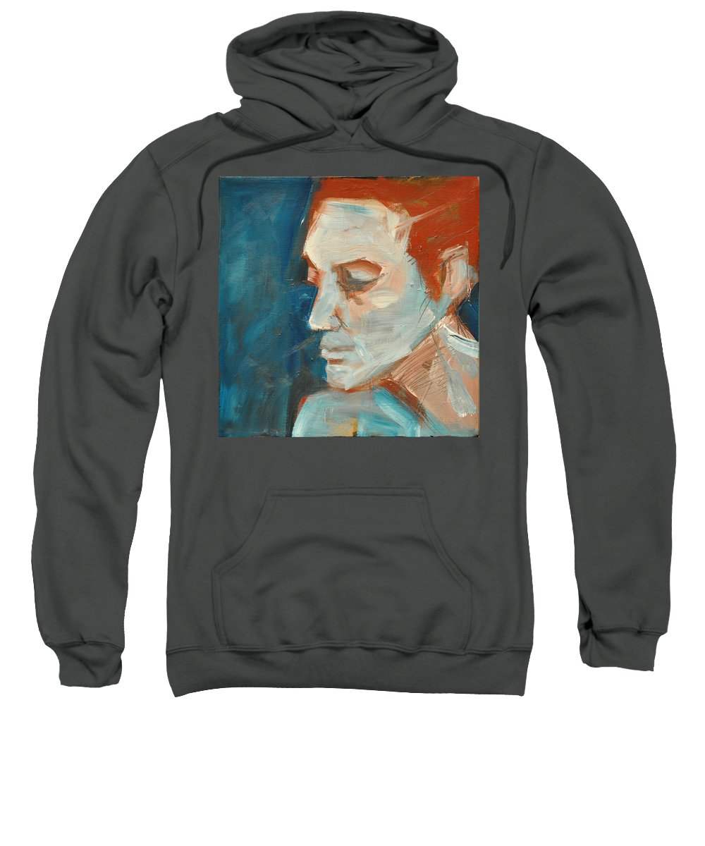 Face Sweatshirt featuring the painting Sullen by Tim Nyberg