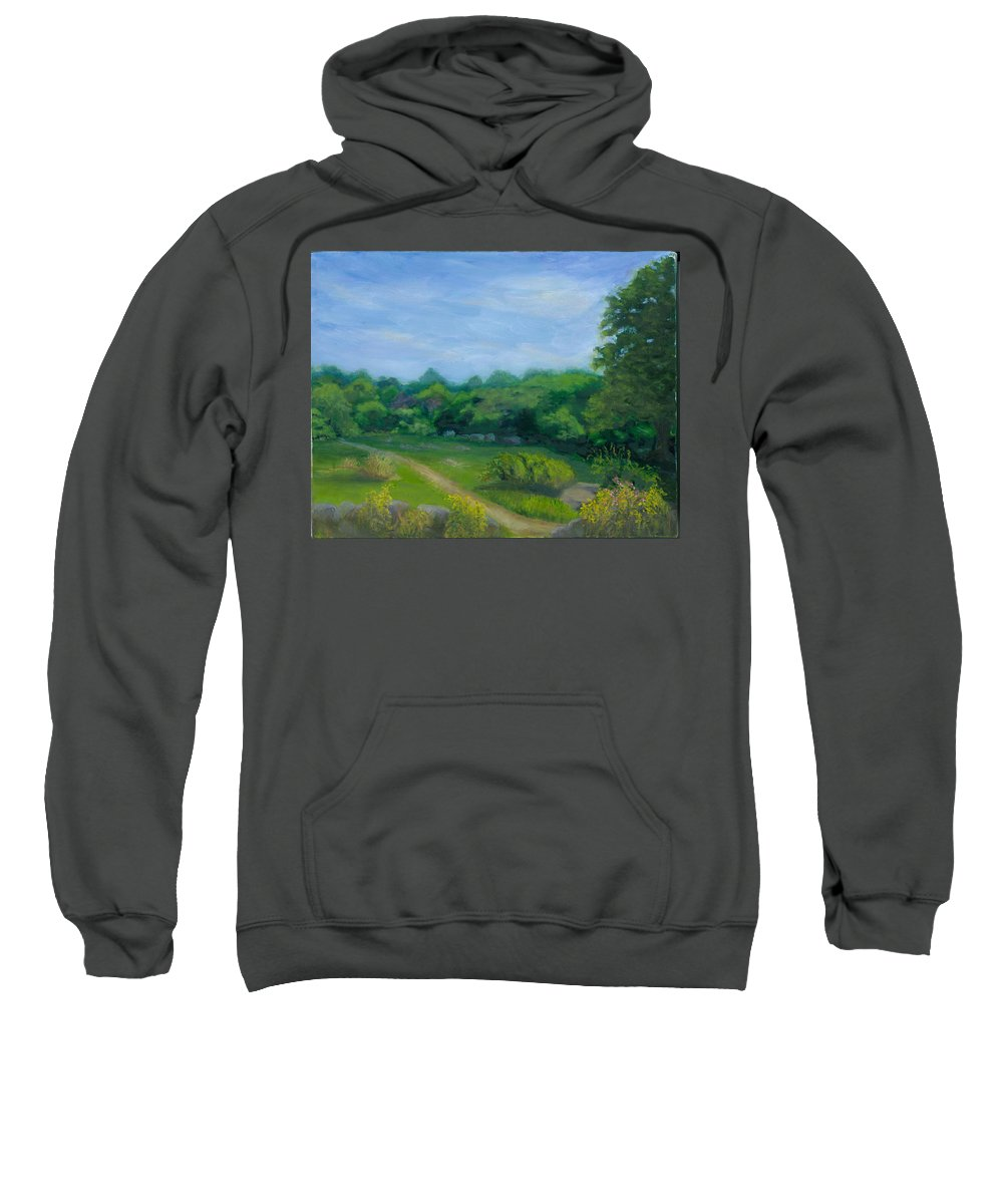 Landscape Sweatshirt featuring the painting Summer Afternoon At Ashlawn Farm by Paula Emery