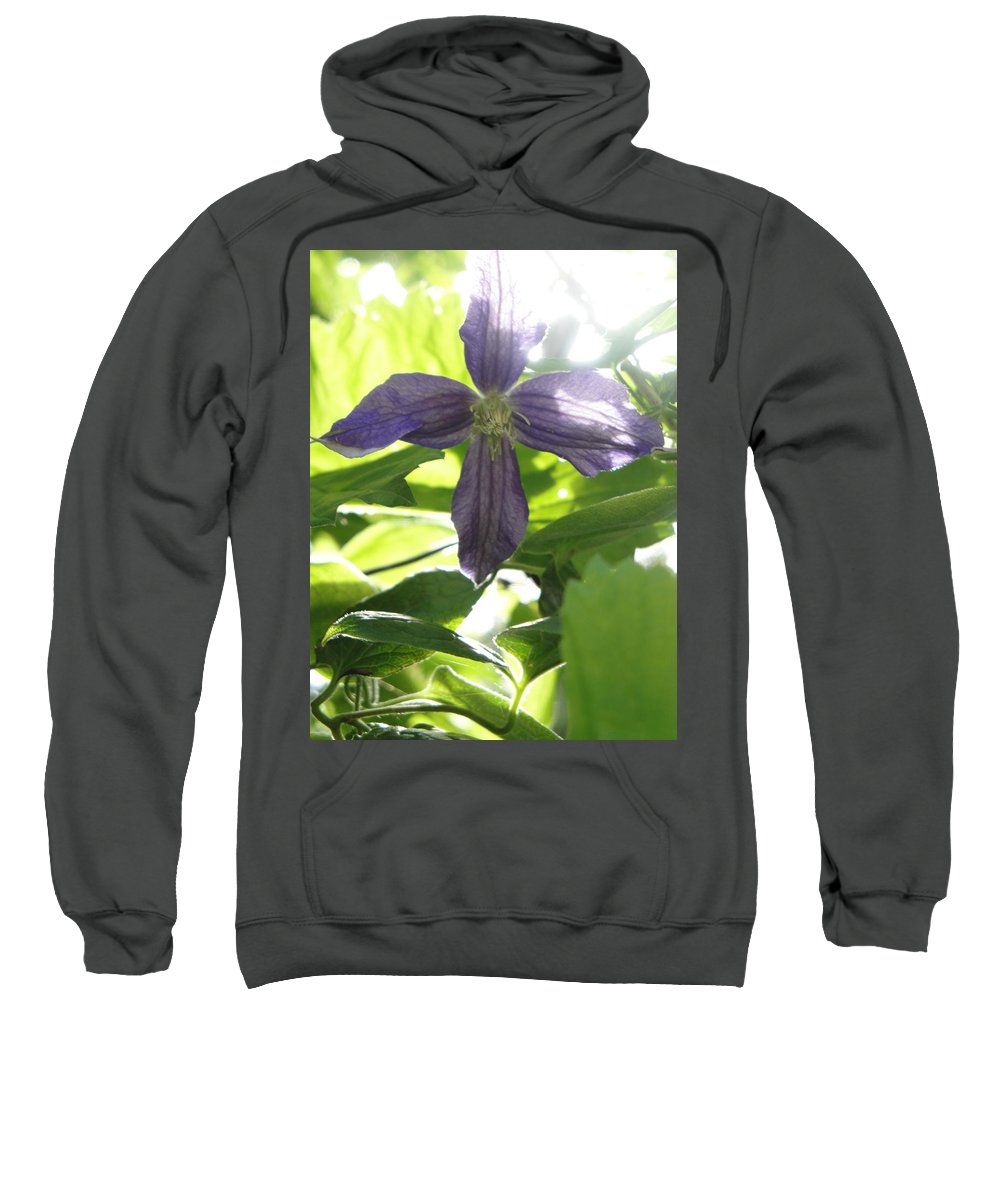 Flora Sweatshirt featuring the photograph Summer Clematis In Light Shade by Susan Baker