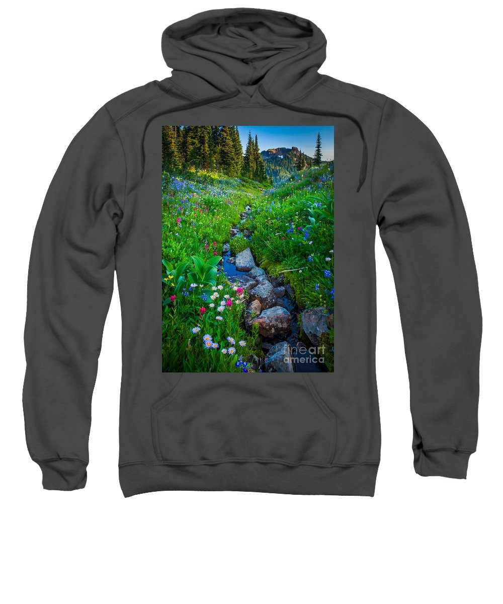 America Sweatshirt featuring the photograph Summer Creek by Inge Johnsson