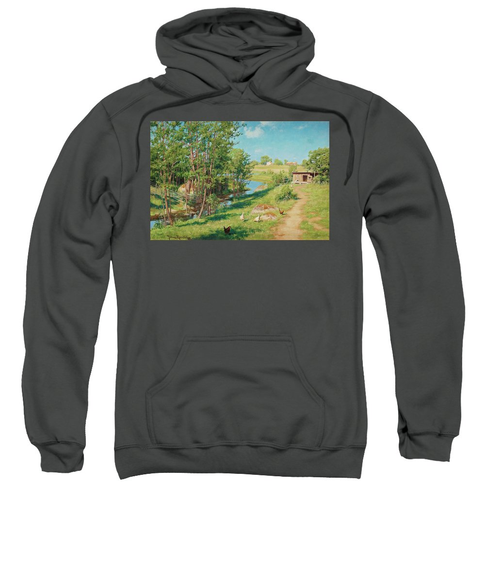 Johan Krouthen Sweatshirt featuring the painting Summer Day By The Stream by Johan Krouthen