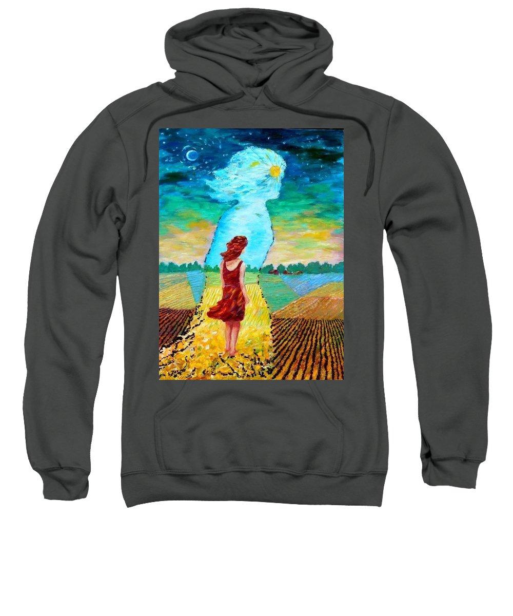 Prairie Scene Sweatshirt featuring the mixed media Summer Days On The Prairies by Naomi Gerrard