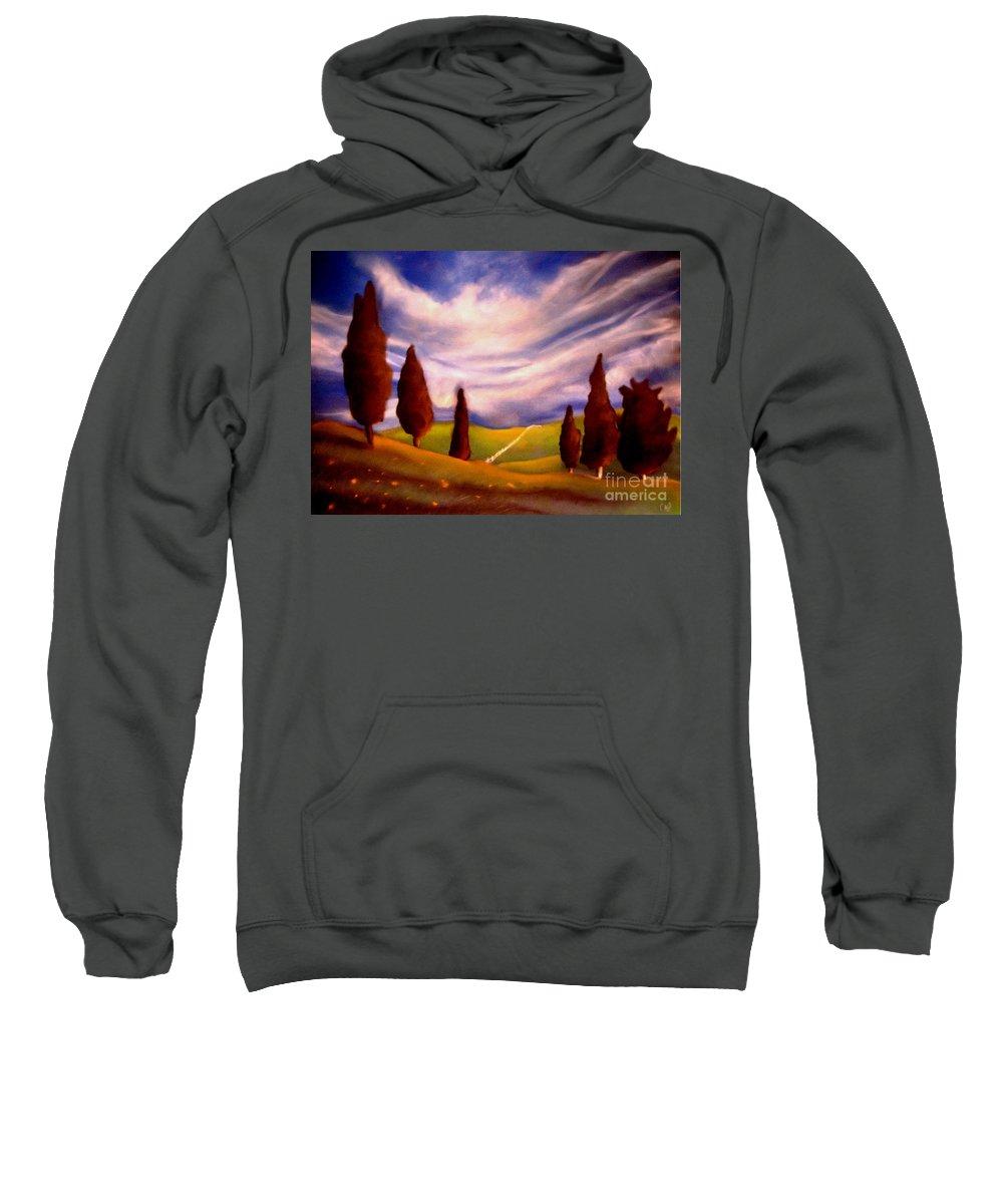 Fields Sweatshirt featuring the pastel Summer Fields by Caroline Peacock