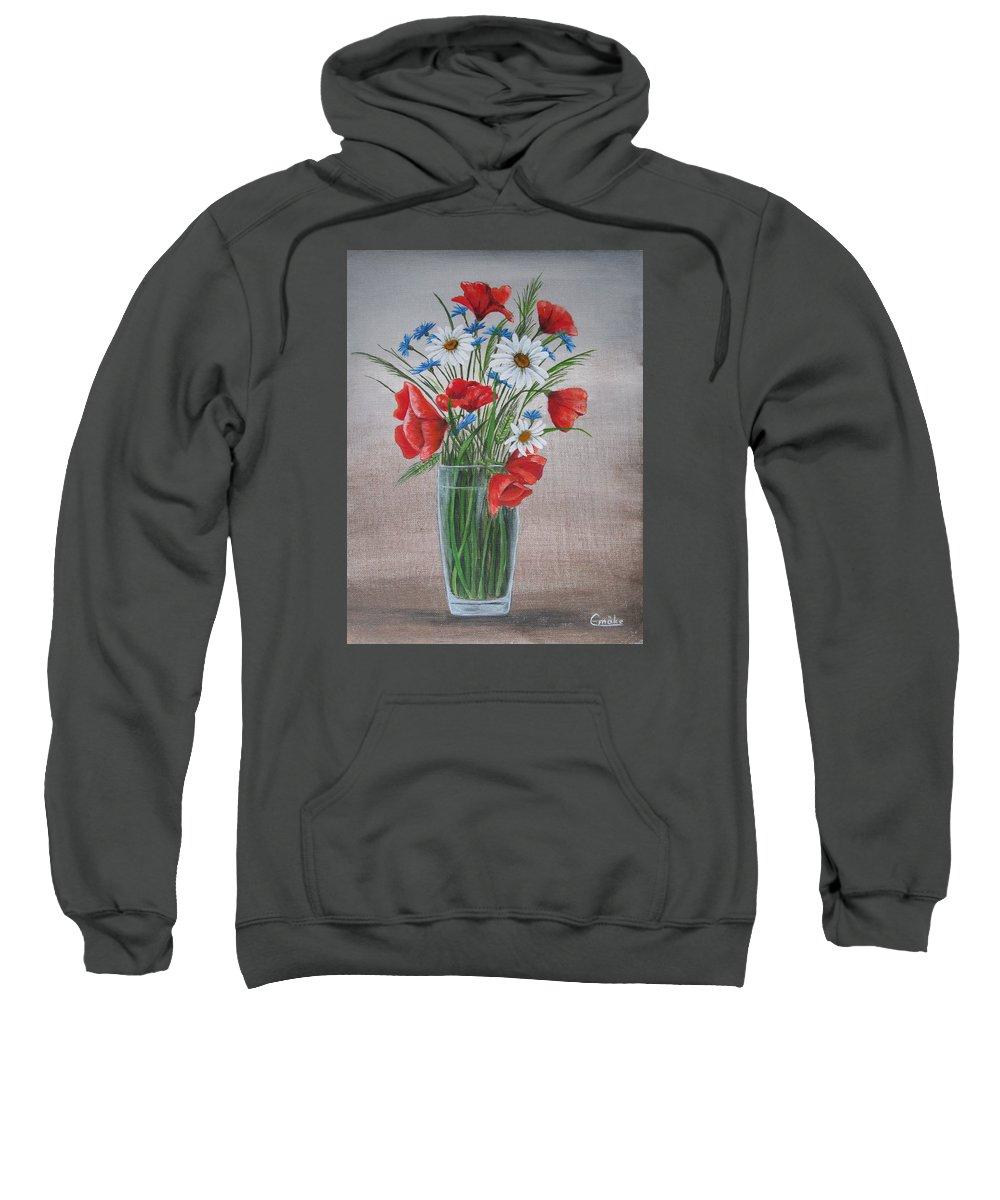 Flower Sweatshirt featuring the painting Summer Flower by Emoke Palffy