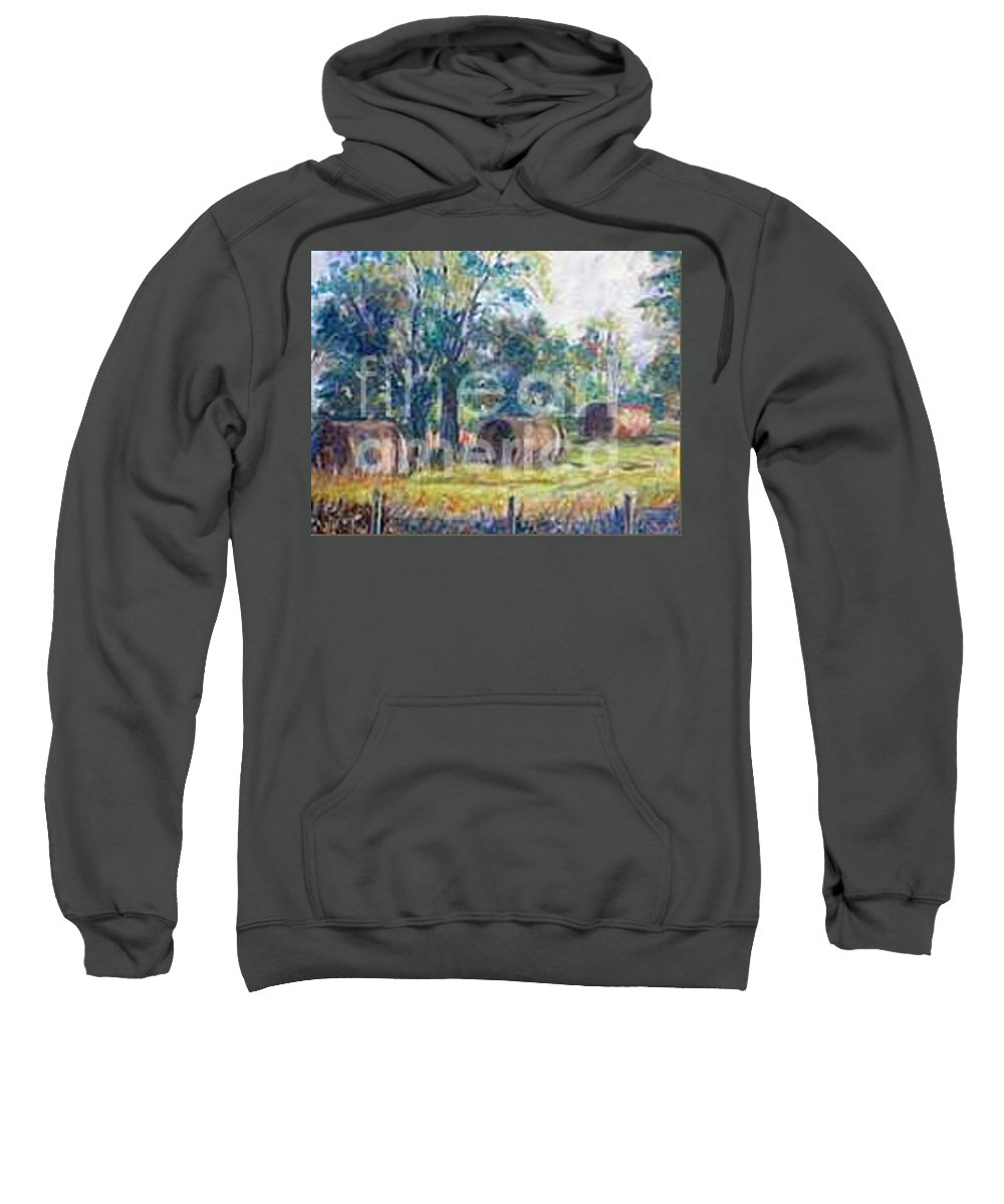 Landscape Sweatshirt featuring the painting Summer Idyll by Jan Bennicoff