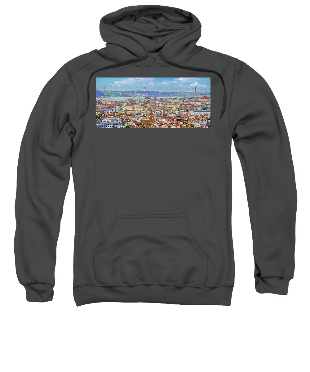 Rooftops Sweatshirt featuring the painting Summer In Lisbon by GabeZ Art