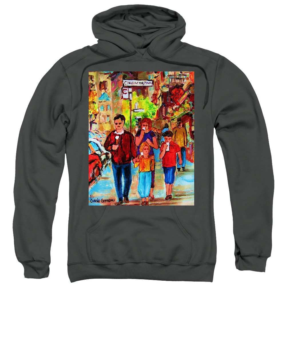 Montreal Streetscenes Sweatshirt featuring the painting Summer In The City by Carole Spandau