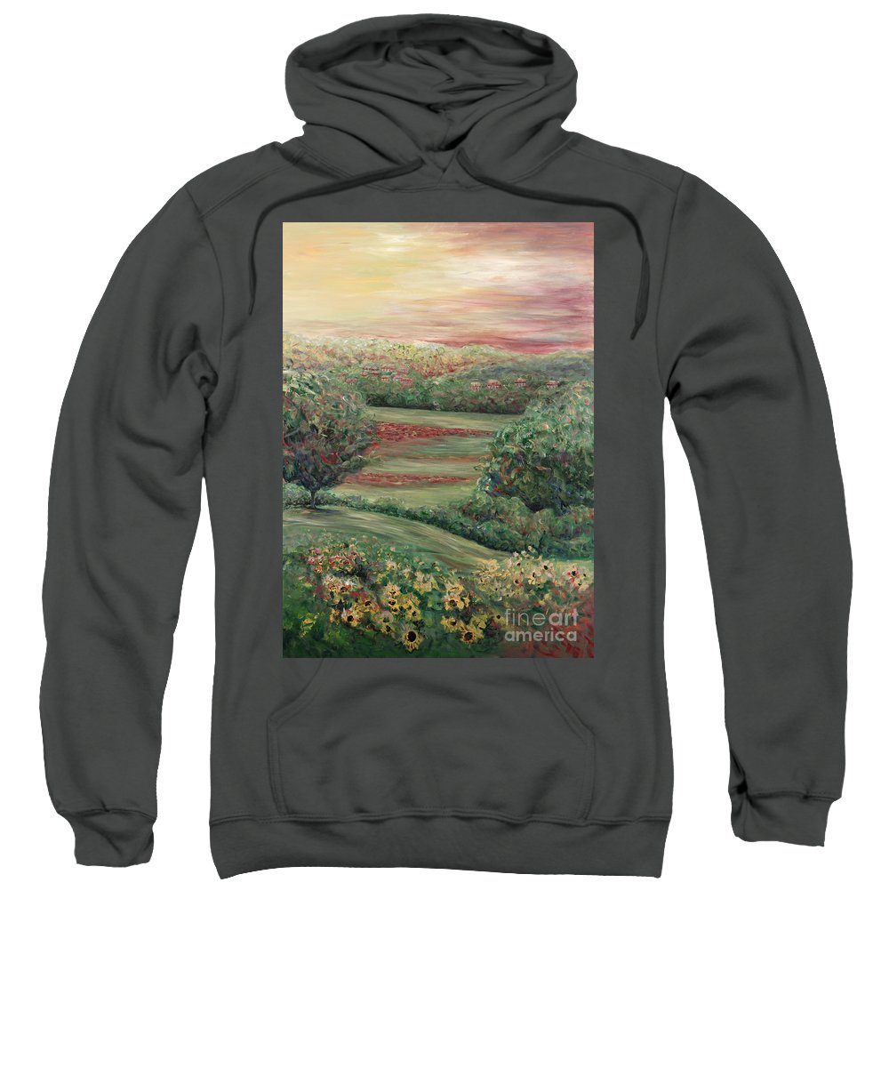 Landscape Sweatshirt featuring the painting Summer In Tuscany by Nadine Rippelmeyer