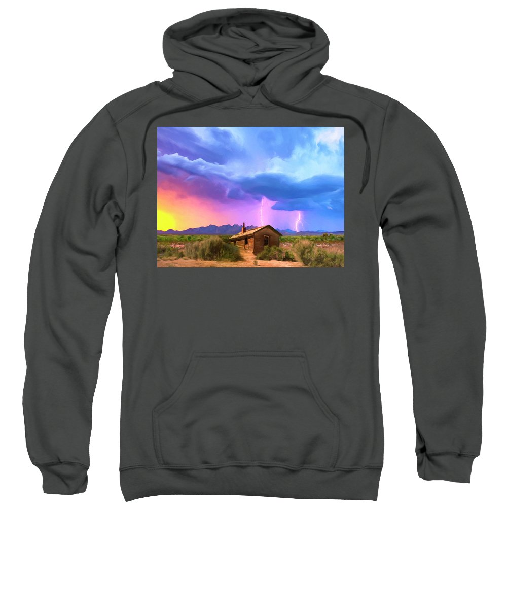 Desert Sweatshirt featuring the painting Summer Lightning by Dominic Piperata