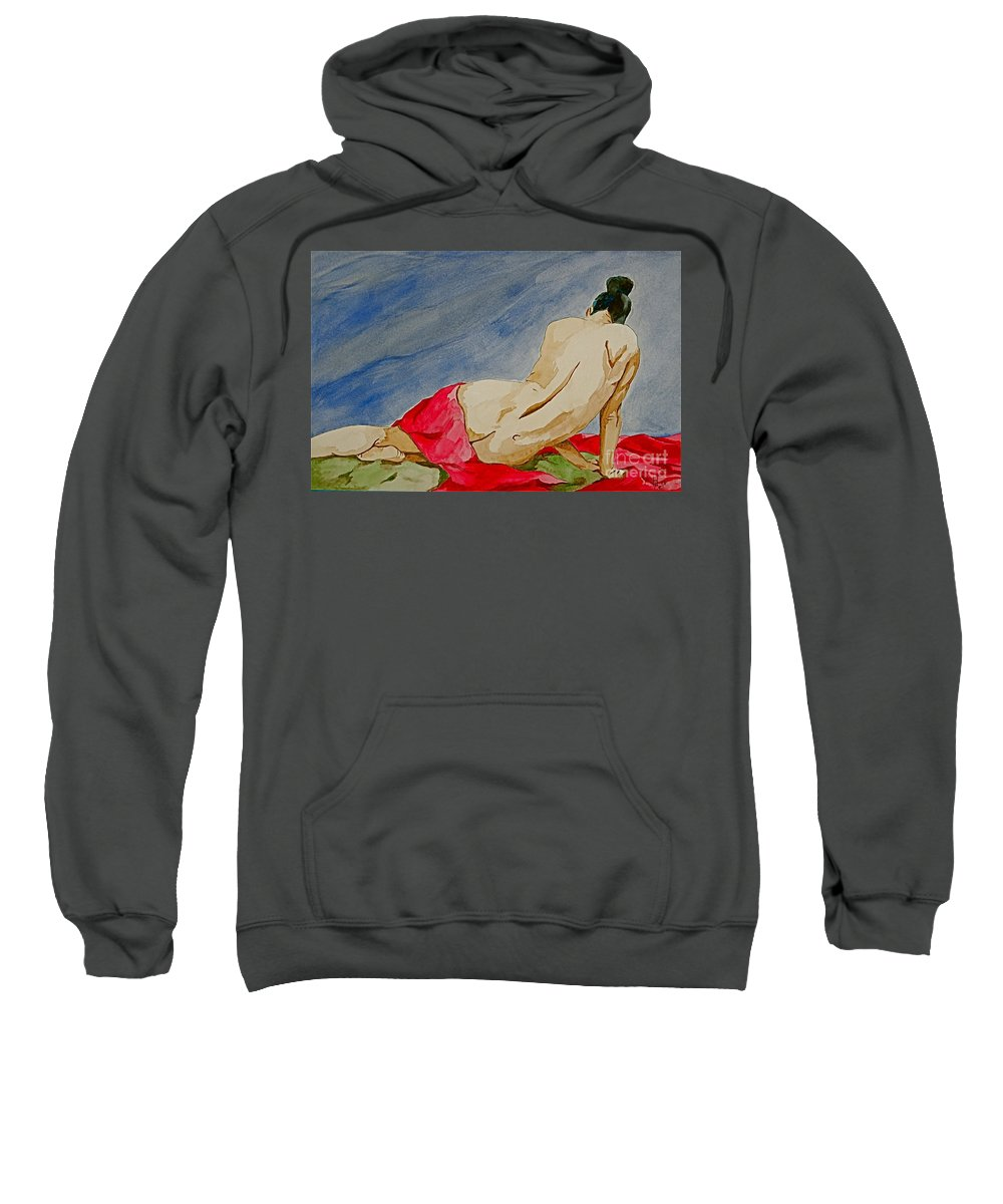 Nudes Red Cloth Sweatshirt featuring the painting Summer Morning 2 by Herschel Fall