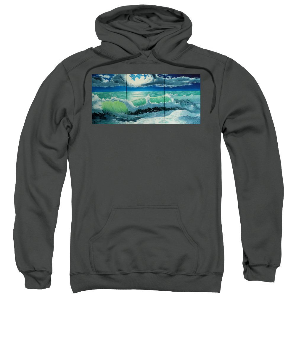 Seascape Sweatshirt featuring the painting Summer Night by Alejandro Del Valle