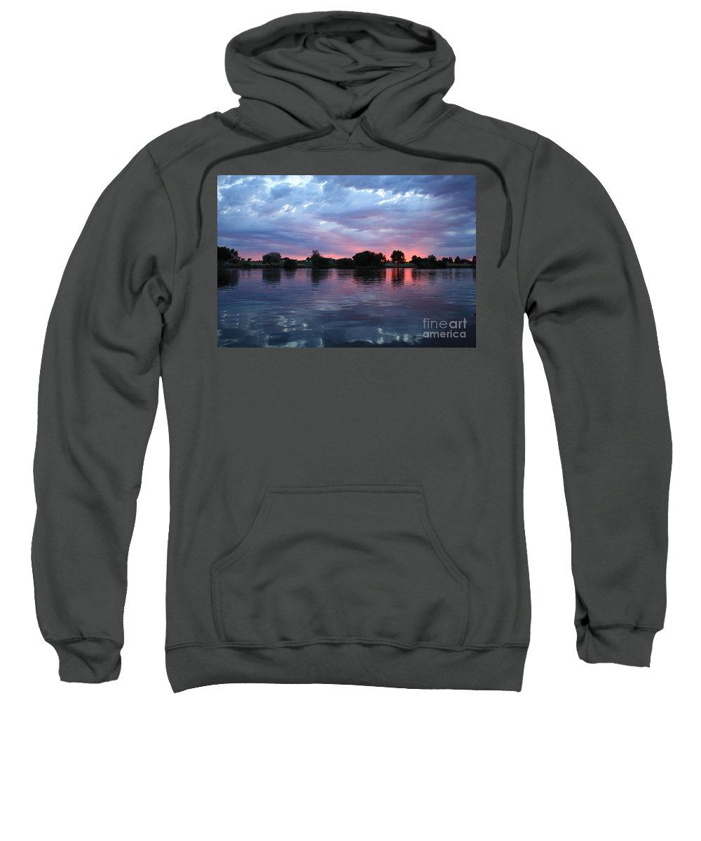 Sunset Sweatshirt featuring the photograph Summer Sunset On Yakima River 4 by Carol Groenen