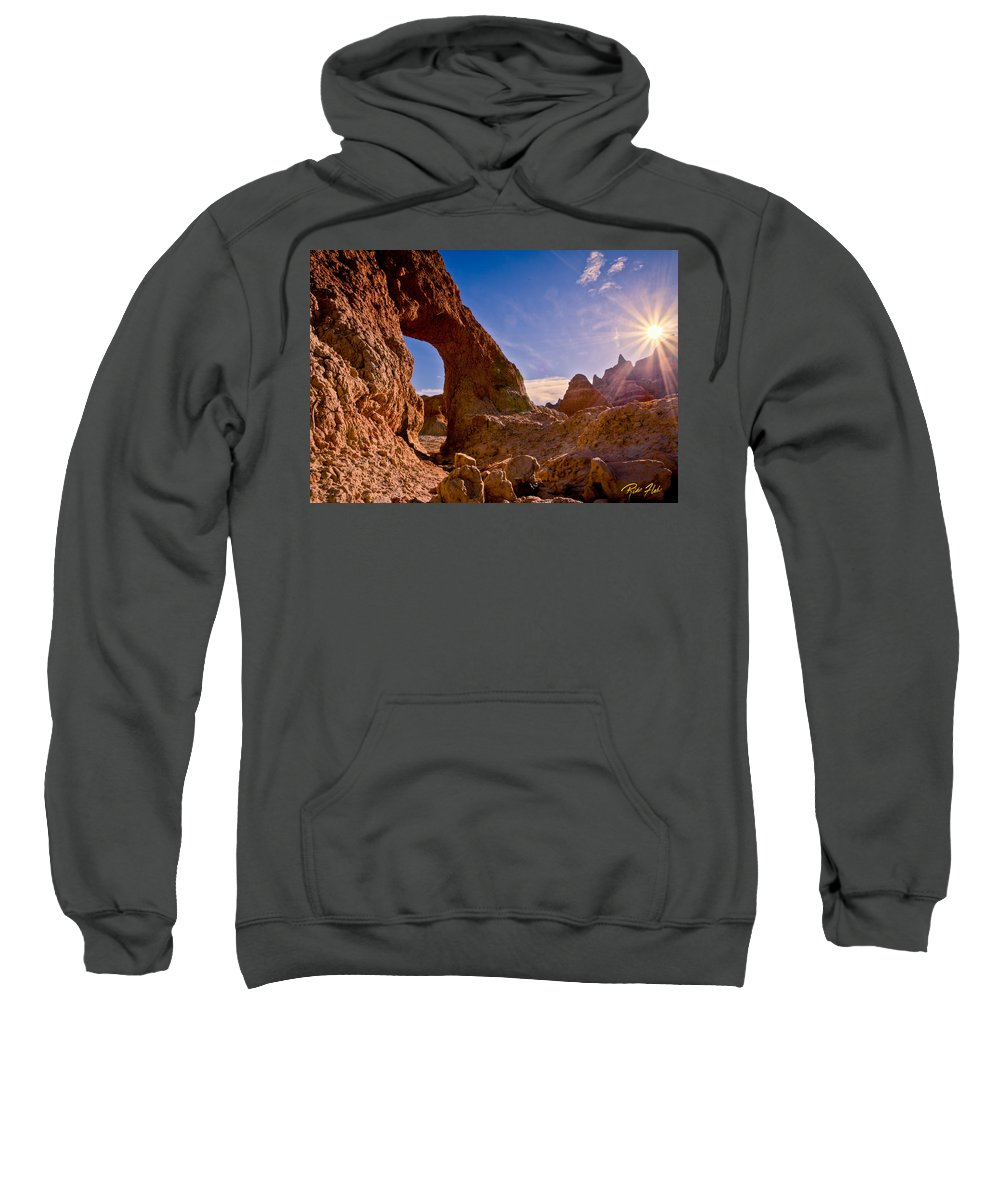 Arch Sweatshirt featuring the photograph Sun And Arch by Rikk Flohr