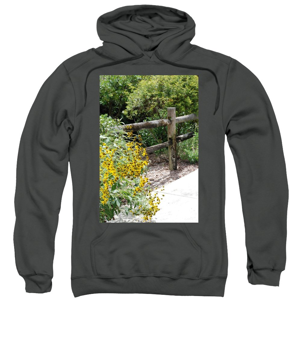 Macro Sweatshirt featuring the photograph Sun Flower Fence by Rob Hans