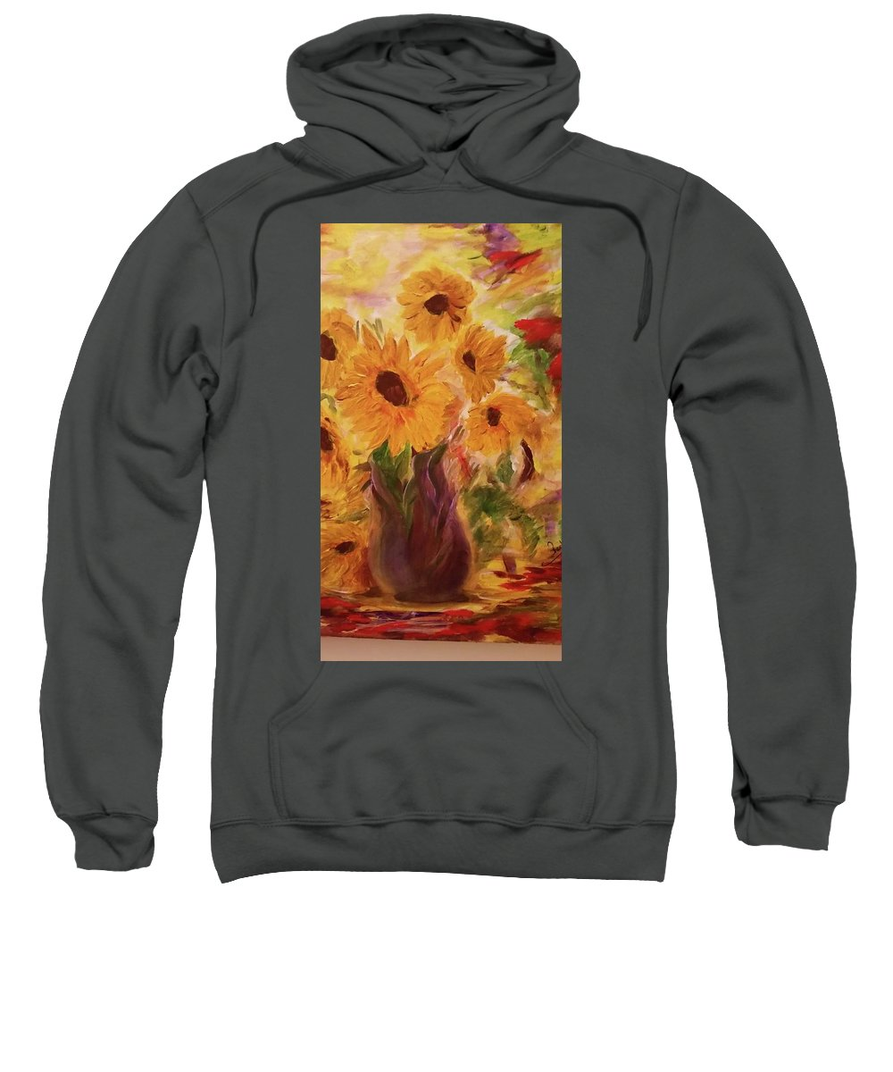Sweatshirt featuring the painting Sun Flowers by Rodica Vinca