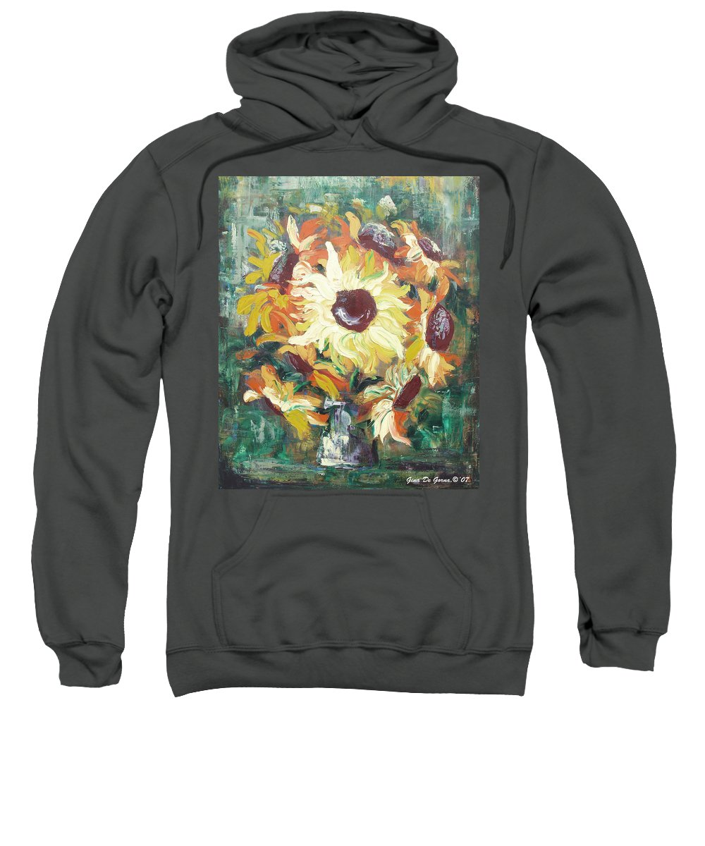 Sunflowers Sweatshirt featuring the painting Sun In A Vase by Gina De Gorna