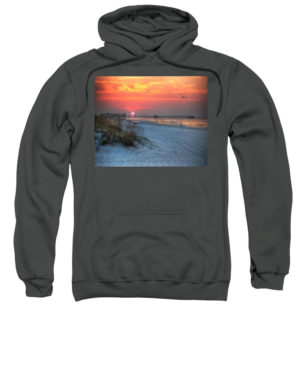 Palm Sweatshirt featuring the photograph Sun Over Sea N Suds And Pier Large by Michael Thomas
