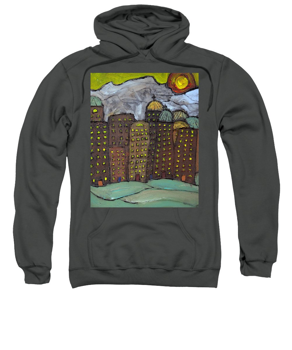 Buildings Sweatshirt featuring the painting Sun Rising On Olde Towne by Wayne Potrafka