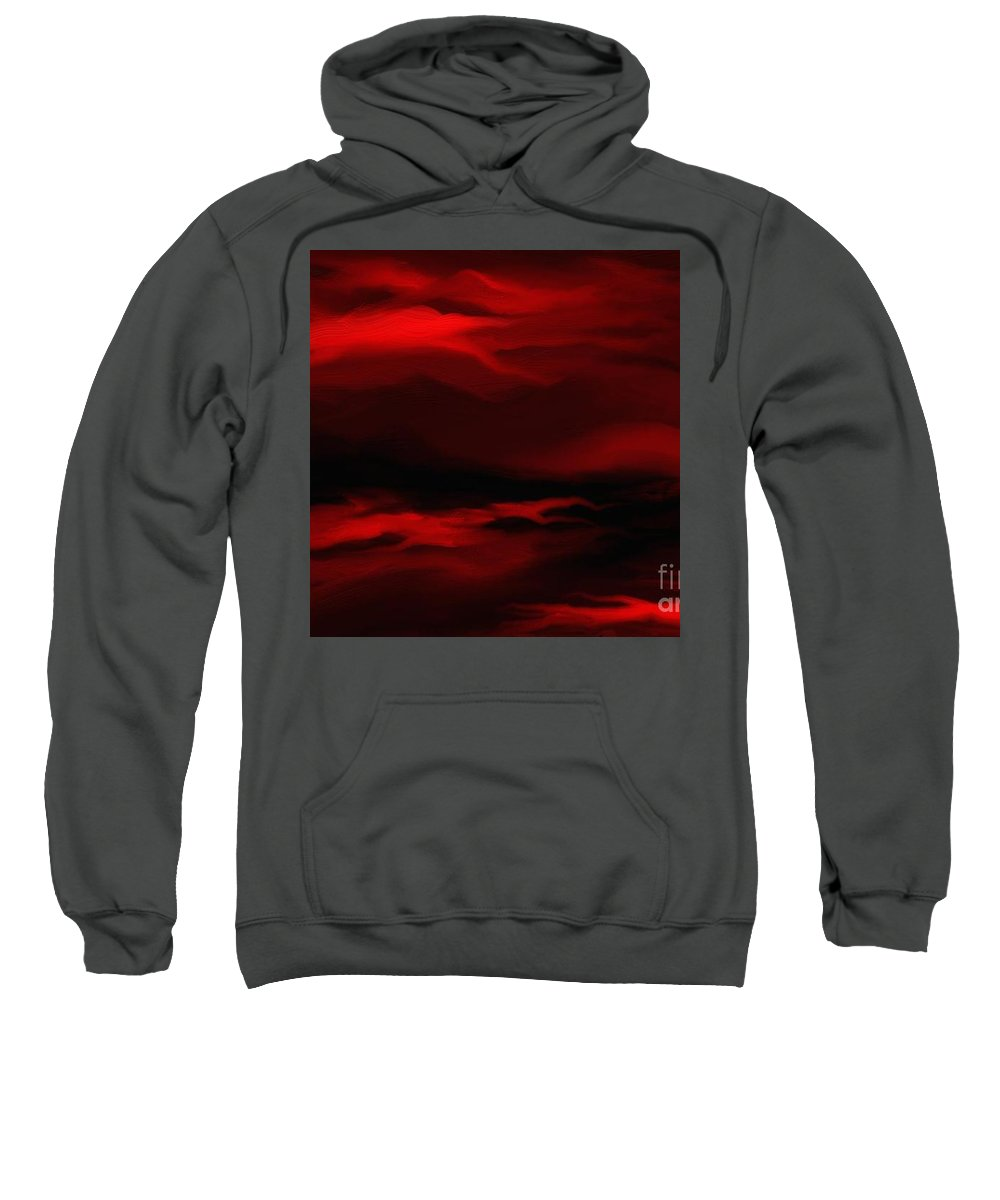Digital Sweatshirt featuring the painting Sun Sets In Red by Rushan Ruzaick