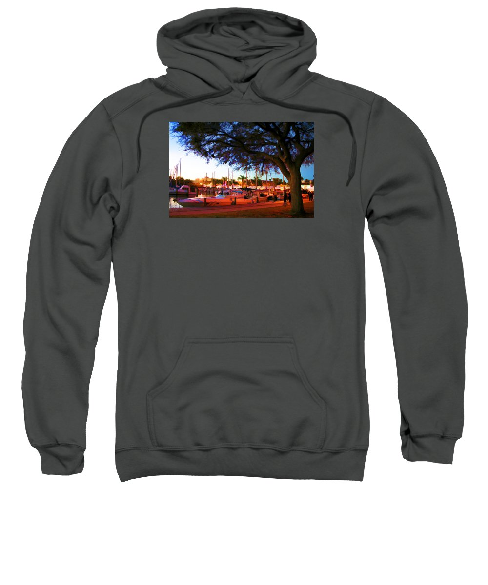 Boat Picture Sweatshirt featuring the photograph Sundown At The Marina by Barry Craft