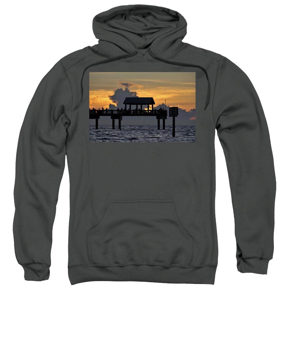 Fishing Sweatshirt featuring the photograph Sundown Pier by David Lee Thompson