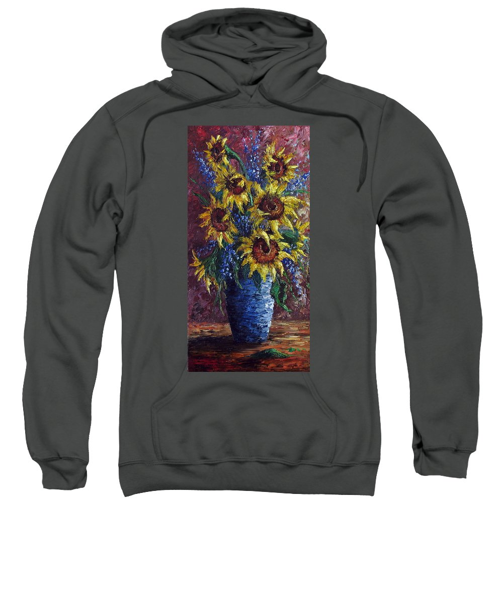 Flowers Sweatshirt featuring the painting Sunflower Bouquet by David G Paul