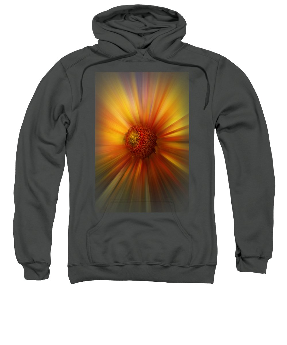 Abstract Sweatshirt featuring the photograph Sunflower Dawn Zoom by Debra and Dave Vanderlaan