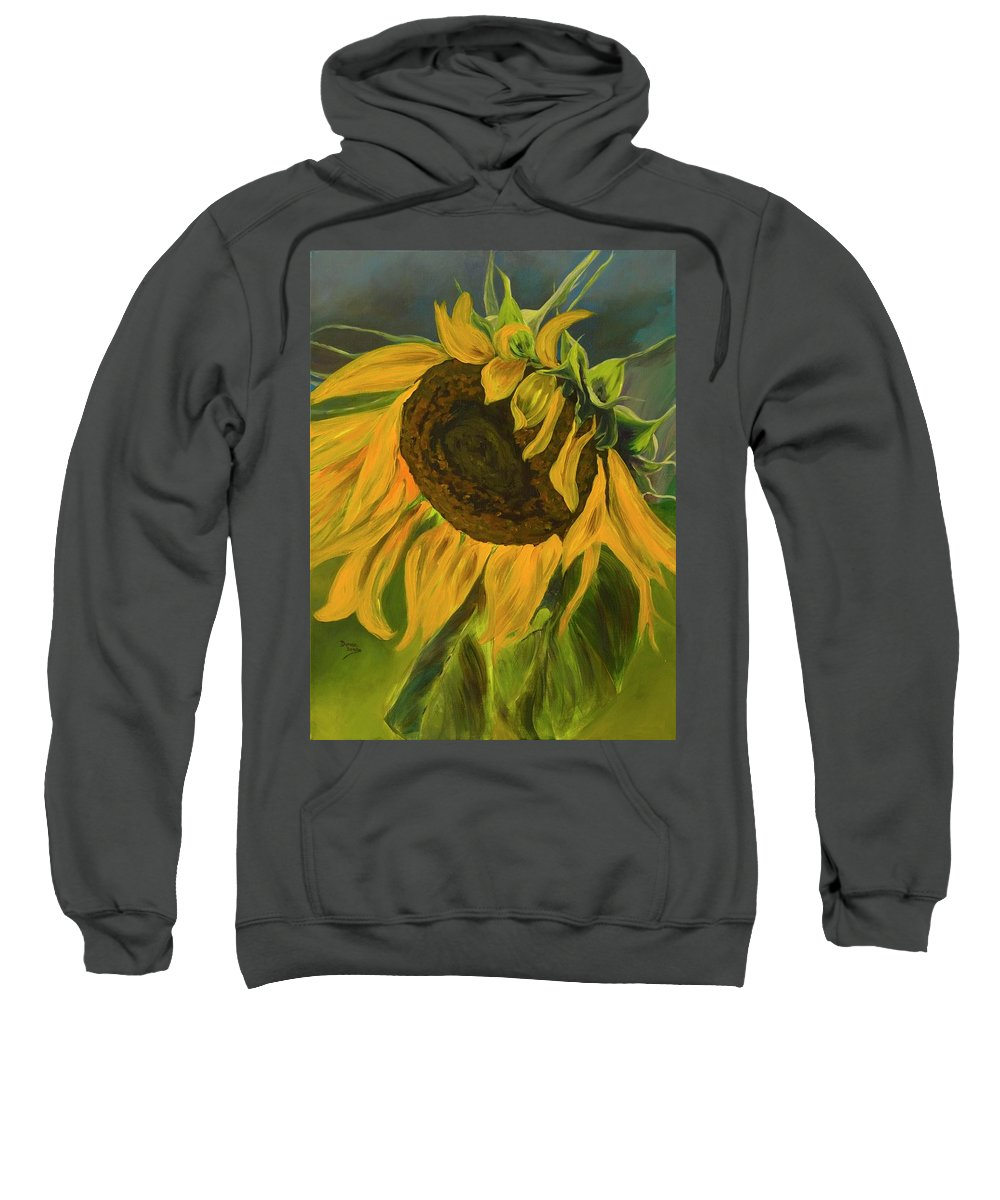 Yellow Flower Sweatshirt featuring the painting Sunflower by Donna Drake
