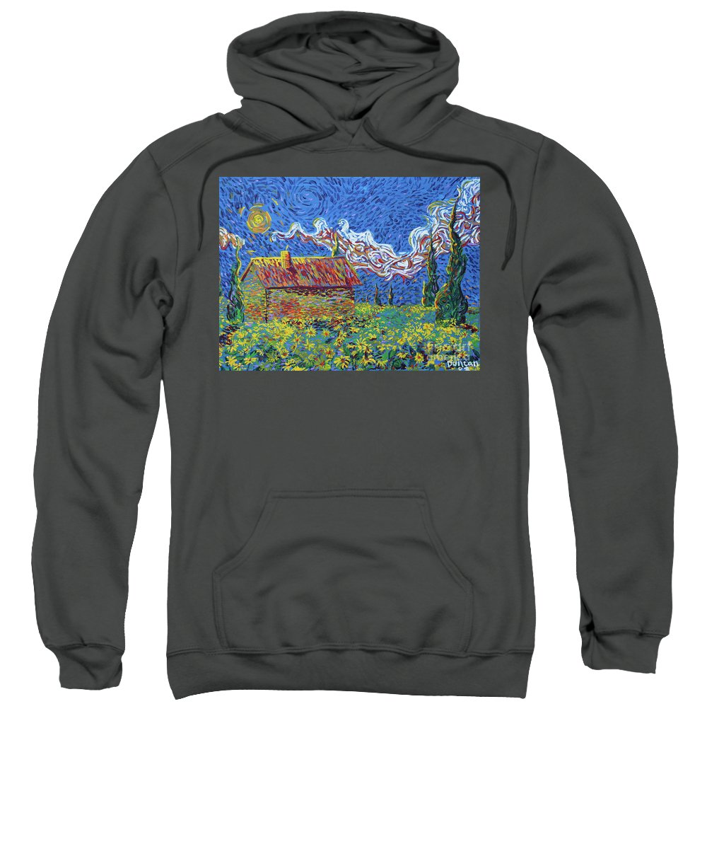 Landscape Sweatshirt featuring the painting Sunflower House by Stefan Duncan